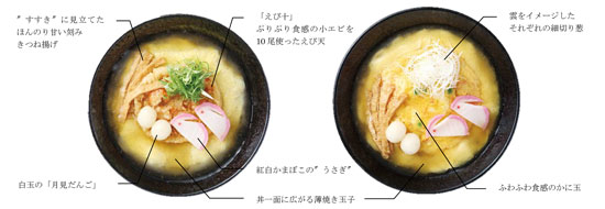 左:満月えび十(てん)そば(うどん) 右:満月かに玉うどん(そば)