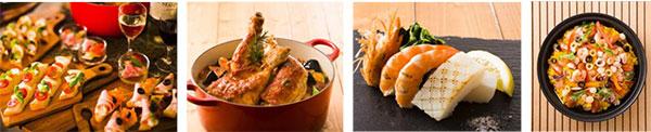 (左から)カナッペ各種、チキンの煮込みトマトケッパー風味、シーフードの鉄板焼き、シーフードパエリア