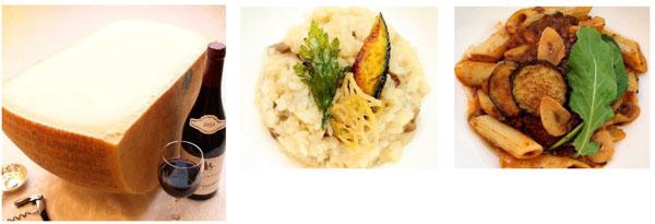 (左)「パルミジャーノ・レッジャーノ」 (中央)ポルチーニ茸のリゾット季節の野菜添え (右)ペンネリガーテのボロネーズソース