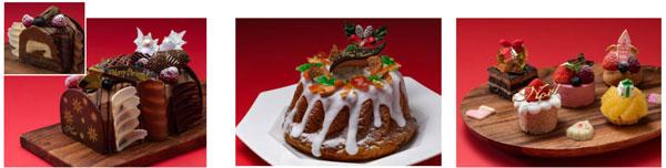 (左から)ブッシュドノエル、  クリスマス クグロフ、  クリスマス キャンズガトー