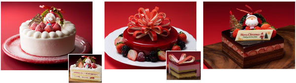 (左から)苺のデコレーションケーキ、  キャロル(讃美歌)、  チョコレートデコレーションケーキ