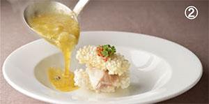 (2)ふかひれと上海蟹の卵入りおこげ(ディナー)