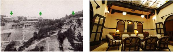 (左)左から 旧新館・旧館(現存)・六甲登山ロープウェー (右)旧館2階 ライブラリー(現在入館不可)