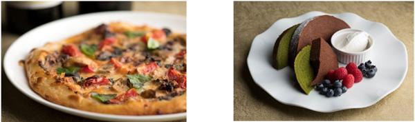 (左)黒ニンニクとポルチーニ茸のピッツァ トリュフ風味(ディナー限定) (右)チョコと抹茶のバームクーヘン