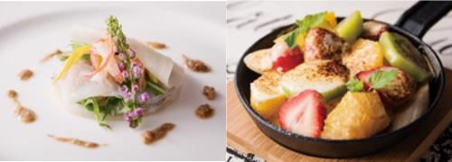 (左)ウマズラハギのマリネと 紅ズワイのエフィロシェの サラダ仕立て  生姜香る肝のヴィネグレット (右)純米吟醸香る フルーツグラタン