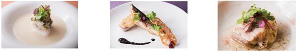 (左から)百合根のポタージュ  鱈のすぐき蕪蒸し、  海老芋のマルブレと秋刀魚のコンフィ 肝のクーリとサワークリーム、  塩漬け豚バラ肉のブレゼ  芋と大根の炊いたん 黒七味と柚子味噌