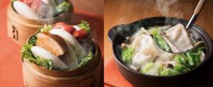 (左)豚角煮 (右)水餃子