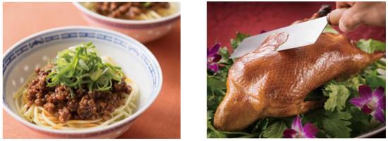 【左】汁なし担担麺【右】北京ダック