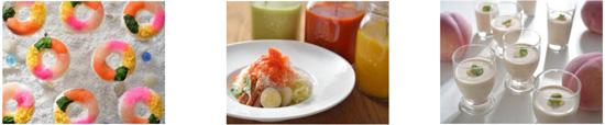 【左から】カラフルな「浮き輪寿司」、3色ソースのかき氷冷やし麺、桃の冷製スープ