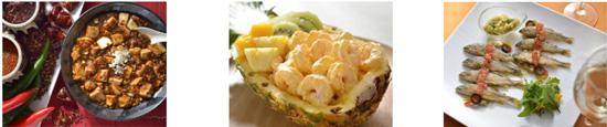 【左から】四川風麻婆豆腐、海老のマンゴーマヨネーズソース、稚鮎と茄子のコンフィー プロヴァンス風