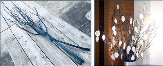 【左】徳島が誇る「阿波藍」で染め上げたミツマタ 【右】ミツマタの七夕飾り