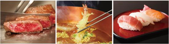 【左から】牛フィレ肉のステーキ 夏野菜添え バーベキューソース、天婦羅、にぎり寿司