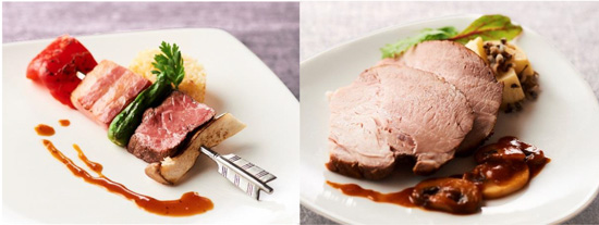 【左】牛肉のブロシェット ガーリックライス添え 【右】ローストポーク ソースシャスール ワイルドライス添え