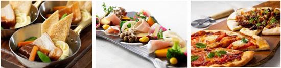 【左から】豚バラ肉の赤ワインビネガー煮込み、秋野菜と生ハムのサラダ仕立て、マルゲリータとオリーブ牛すじ肉のピッツァ