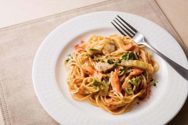 蟹と白菜のトマトクリームパスタ