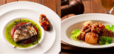 左から「鰤の香草焼き トマトとバジルの二色ソース」、「豚のビール煮」画像4
