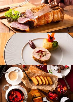 上から「豚のロティー」画像1、「バロンティーヌ トマトフォンデュ」画像2、「オトナスイーツ」画像3