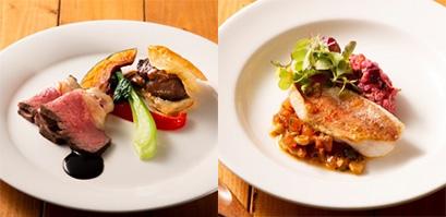 左から「ローストビーフと牛肉の煮込みパイ添え」、「カサゴのポアレ 茸のリゾット添え」