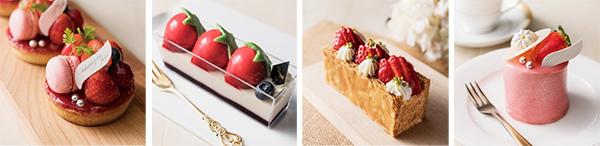 【左から】(2)「ベリーベリータルト」 (3)「スリーベリーズ」 (4)「苺のミルフィーユ」 (5)「ムース オ フレーズ」