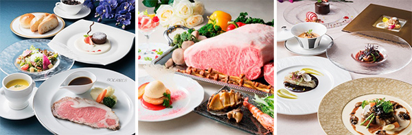 (左)カフェレストラン「ソラレス」:ヒスイラン (中央)鉄板焼「梅野」:白薔薇~しろばら~ (右)仏蘭西料理「プルミエ」:カトレア