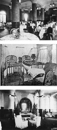 (上から)開業当時のレストラン、開業当時の客室、開業当時のホテルロビー