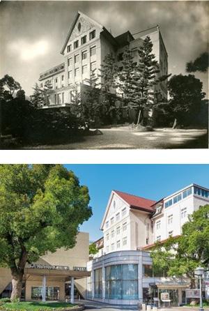 (上から)開業当時の外観、現在の外観