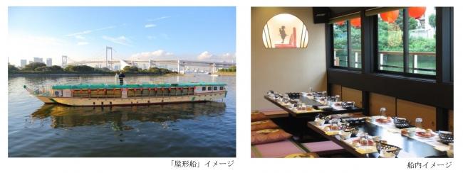 (左)「屋形船」イメージ、(右)船内イメージ