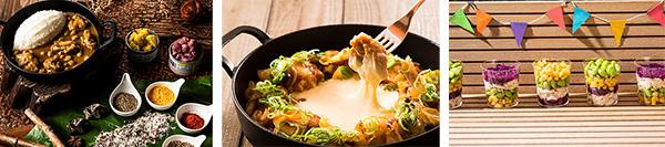 (左から)チキンとひよこ豆のスパイスカレー&ライス、トッポギ入りチーズダッカルビ、鶏むね肉のチョップドサラダ
