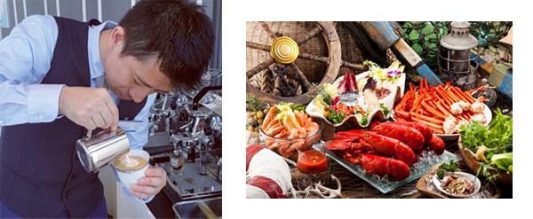 左から)ラテアートイメージ、シーフード料理イメージ