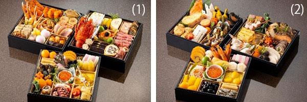 左から)「和洋中料理おせち三段重」、「日本料理おせち三段重」
