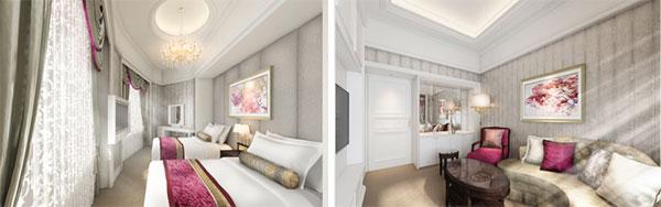 スイート(55.0平方メートル)(左)ベッドルーム(右)リビングルーム