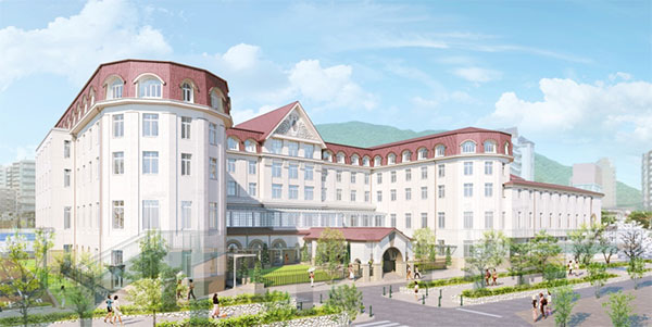新ホテル外観イメージ(花のみち側(北側)より)
