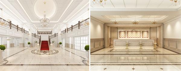 (左)ホテルメインロビー、(右)フロントカウンター