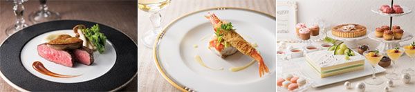 (左から)フォアグラとビーフステーキロッシーニスタイル(ディナーのみ)、白身魚のトマト蒸し小海老のカダイフ巻き、デザートイメージ