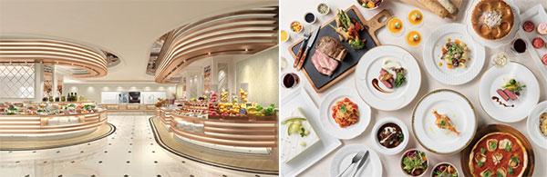 (左)ビュッフェ&カフェレストラン「アンサンブル」、(右)アンサンブル料理イメージ