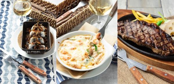 (左)イワシの香草パン粉焼き (中)エビとほうれん草のグラタン (右)US産サーロインの炭火焼き