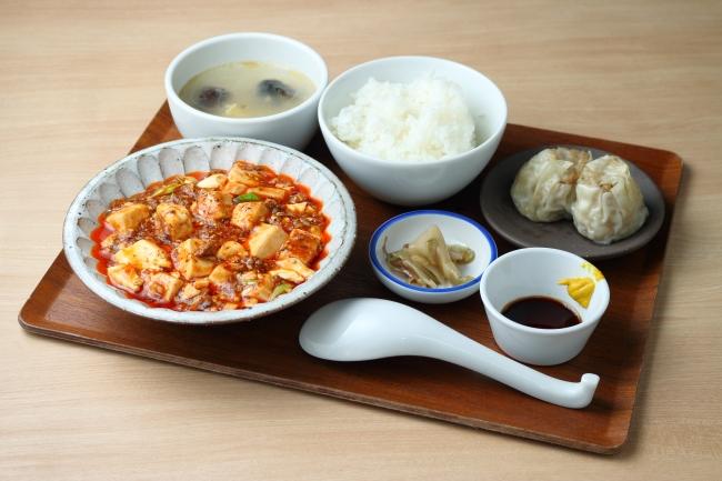 麻婆豆腐定食 1,000円 (焼売2ケ、ご飯、スープ、ザーサイつき)