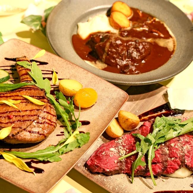 牛頬肉のラグー¥1,480、鴨のコンフィ¥1,780、牛ハラミのタリアータ¥1,780