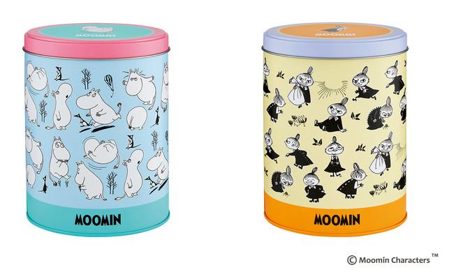 左から ムーミン缶、リトルミイ缶