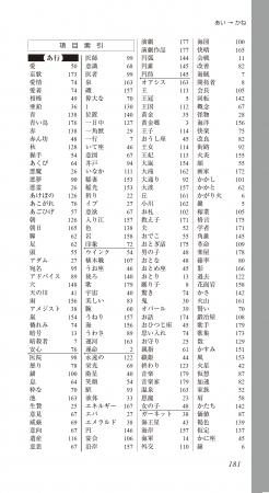 ▲日本語は「愛」から始まる「項目索引」、  五十音順で探しやすい