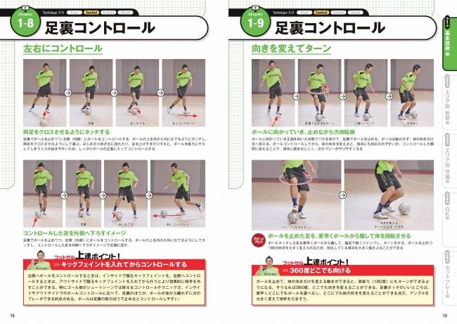 ▲フットサルならではの足裏コントロールも、  横へのコントロールやターンしながらのコントロールなど、  現代の最新プレーに合わせた基本を紹介