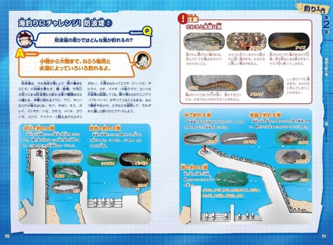 ▲わかりやすい解説ページ。その場所で釣れる魚の写真もしっかり掲載!