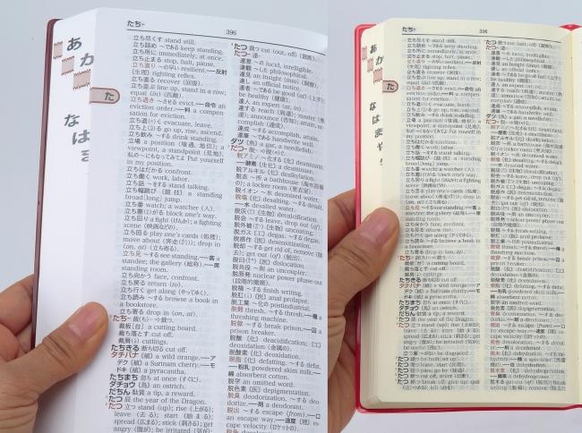▲『大きな字の和英辞典』と『パーソナル和英辞典』の比較。