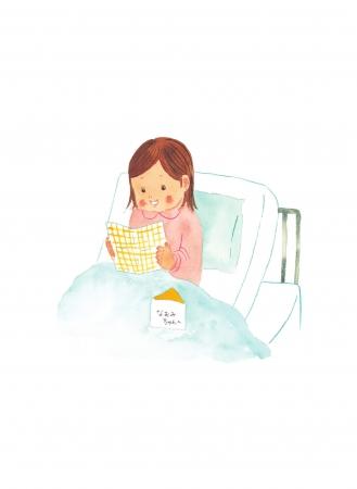 ▲絵本の裏表紙は、物語の中で主人公の男の子が気づかう、入院中のお友達の絵で締めくくられる