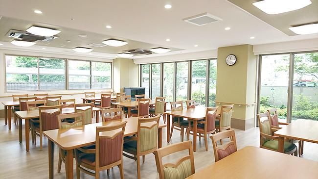 ▲共用食堂 和食を中心に、管理栄養士監修の栄養バランスがとれた食事を1食からオーダーできます。