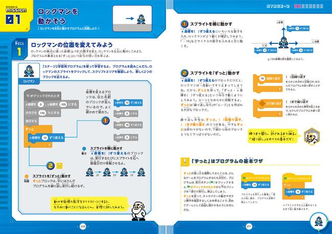 ▲左ページが作るプログラム、右ページがくわしい解説。