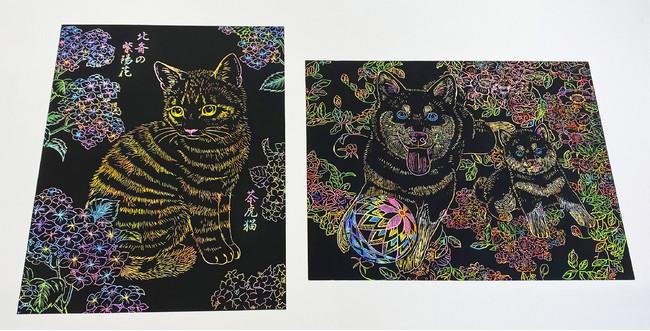 学研の『猫なぞり絵』『犬なぞり絵』で人気の作家shinoさんの描き下ろしアート