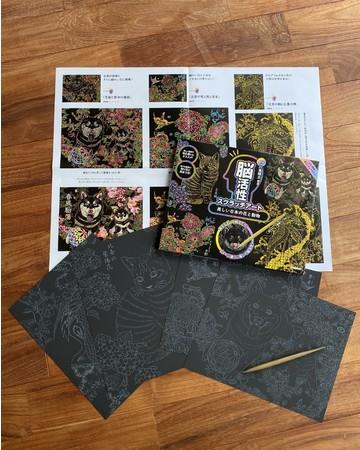 A4サイズのアートは難易度別に4枚。ペン付きで税別1100円と取り組みやすい価格に設定した