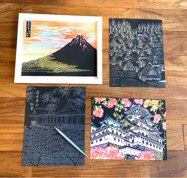 世界遺産の四季の風景が美しいアート。春の姫路城、夏の富士山、秋の清水寺、冬の白川郷の4枚です