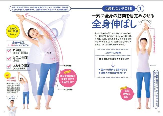 ↑たったの5ポーズで、力が入って固まりがちな部分の筋肉をまんべんなく刺激できる